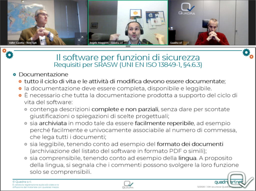 Webinar  SOFTWARE SICUREZZA Quadra ReeR